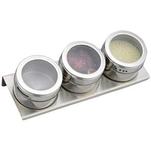 Набор для специй на магнитах 3шт прямоугльный фото